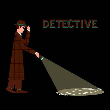 Detective con linterna sobre fondo oscuro. Concepto de investigación de asesinato. Fondo negro. Ilustración de vector plano.