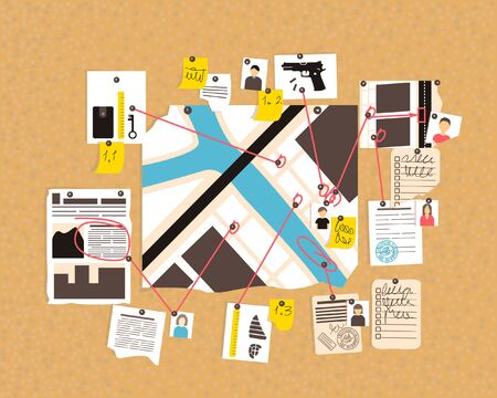 The course of the detective investigation on the corkboard. The map shows the locations of witnesses and suspects. Flat vector illustration.