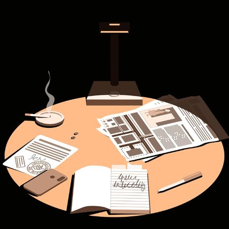 Late in the evening, a lamp falls on the desktop. Desk of a detective, investigator or night shift worker. View from above. Flat vector illustration.