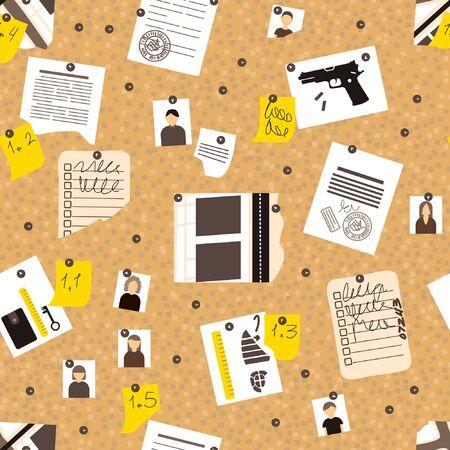 Flat seamless pattern board detective. Crime investigation concept. Print design vector illustration. Wallpaper background. Vettoriali