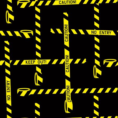 Seamless pattern of police black and yellow ribbons on a black background.  Stripe tape danger police line. Yellow warning tape. Risk sign. Warning, caution, attention, restriction. Attention sign symbol.