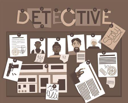 Detective story board for concept design. Investigation, evidence board. Criminal law.Headline text. Detective map vector illustration.