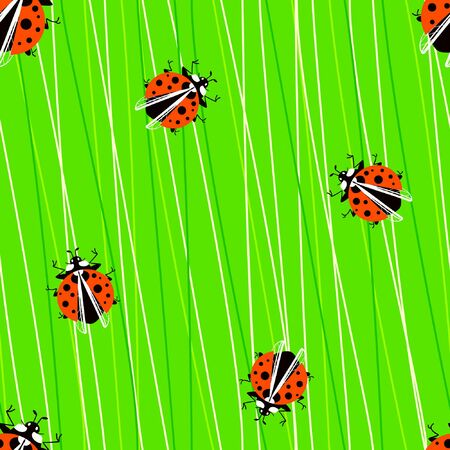 Seamless pattern with ladybugs on juicy sow thistle. Beetles on the lush green grass. Attractive pattern in juicy summer colors. Flat vector design.