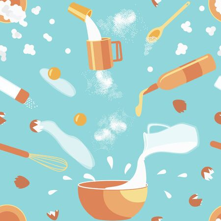Seamless pattern of baking ingredients. Cookies Cooking Concept. Ingredients hover over a bowl in which the dough will be kneaded. Flat vector illustration.