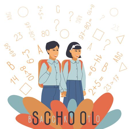 Happy children in school knowledge, great design for any purposes.