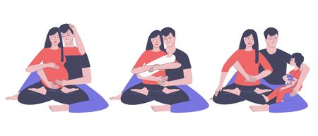 Set of a happy family of parents with a baby. Pregnant mother. Mom and Dad admire their newborn baby. The grown up baby sits in the arms of dad. Flat vector illustration.