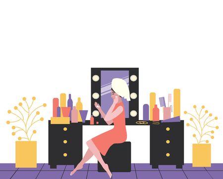 Flat woman dressing table for lifestyle design. Beauty woman makeup closeup. Beautiful girl. Makeup, cosmetics, beauty. Skin care.