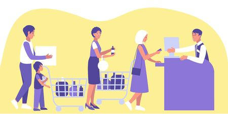 Male and female customers stand at queue at the checkout. Family shopping in supermarket and paying with card. Sale, discount, special offer concept.  Flat vector illustration.