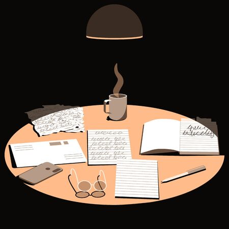 Top view on table surface lit by lamp light. Sending letter or correspondence through postal service. On the table are a letter. envelope, pen, glasses and a cup of hot coffee. Flat cartoon vector illustration. Ilustración de vector