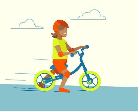 Cartoon balance bike child running for lifestyle design. Happy childhood, active recreation. Cartoon flat vector illustration. Outdoor recreation. Child ride balance bike.