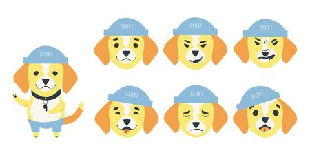 Set of emotions of a cute Beagle dog.