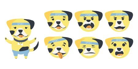 Set of emotions of a cute Bulldog dog. A dog can be different happy, sad and kind. Sports accessories bone, bandage and pants. Flat cartoon vector illustration.