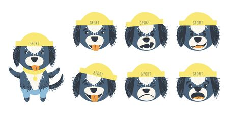 Set of emotions of a cute Portuguese aquatic dog. A dog can be different happy, sad and kind. Sports accessories medal, hat and pants. Flat cartoon vector illustration.