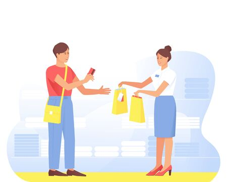 A satisfied buyer makes a purchase from the seller in the store. At the clothing store, the buyer pays with a card. Seller hands paper bags to buyer. Flat cartoon vector illustration.