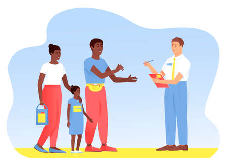 An interviewer asks questions to an African American family. Sociological survey of passers-by. Survey of buyers interested in the product. Flat vector illustration.