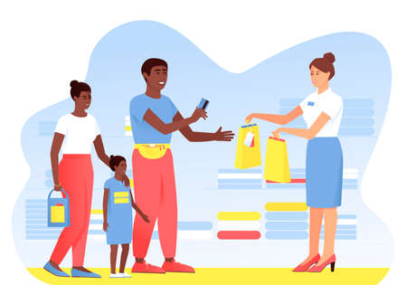 The Afro American family makes purchases from the seller in the store. Dad pays with a card for the purchase. Seller hands paper bags to buyer. Vector flat illustration.