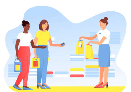 Two shopping girlfriends are shopping. One woman pays with a card for purchases. African American woman takes paper bags with purchases from the seller. Vector cartoon flat illustration.