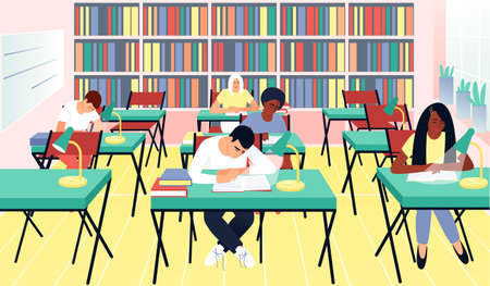 Student library in a flat style. Many books on the shelves. Children read books in the library. Learning concept. Teenagers with different skin colors. Vector illustration of flat people.