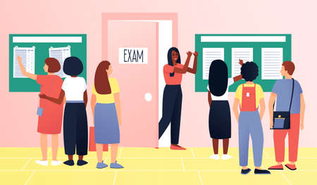 Students waiting exam. Examination test. Lifestyle education student. Youth lifestyle. Teenagers with different skin colors. Flat vector cartoon illustration.