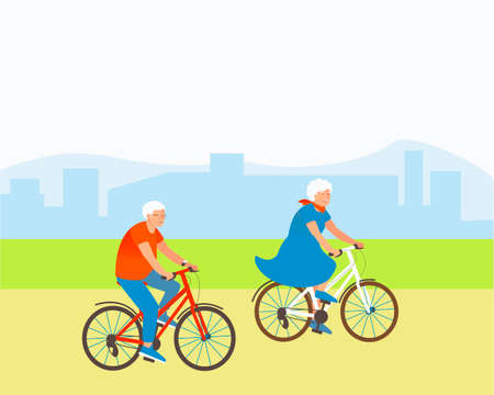 Aged couple rides bicycles in a park outside the city. Grandparents are actively spending summer time. Happy aging people behind vigorous activity. Flat vector cartoon illustration.
