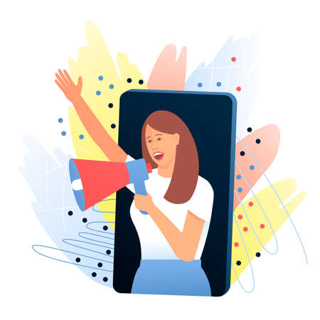 Woman, opinion leader speaks from a smartphone through a megaphone about a product that she likes. The concept of attracting new customers through referral marketing, word of mouth. Flat vector illustration.