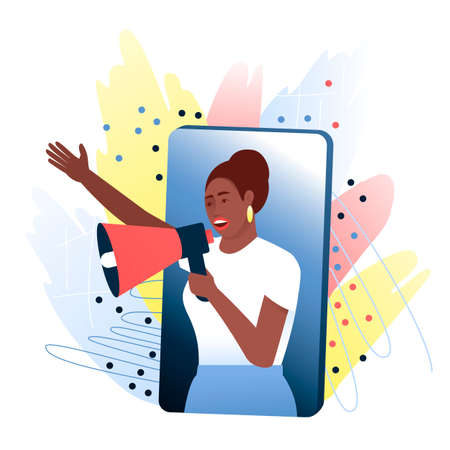 African American woman, opinion leader speaks from a smartphone through a megaphone about a product that she likes. The concept of attracting new customers through referral marketing. Flat vector illustration. Stock Illustratie