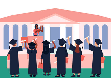Graduates with diplomas and scroll are listening to a graduation motivational parting words. Students in a black graduation gown and Graduation Hat. Flat vector illustration.