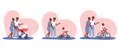 Set of African Americans happy parents are watching how their baby is growing. The kid rides in a stroller, on a balance bike and a bicycle. Flat vector cartoon illustration. Ilustrace