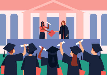 Graduates are awarded diplomas and scroll. Students in a black graduation gown and Graduation Hat. Flat vector illustration.