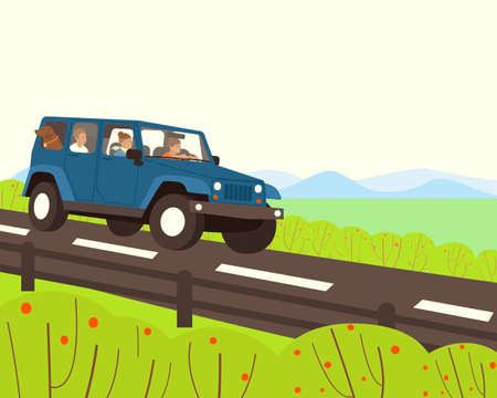 A family with a dog travels by car. The car goes on the highway. In the background, mountains are visible. Mom, dad, son and dog are riding in the car. Flat vector illustration.