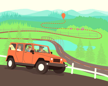 The family drives to the destination on the map. Travelers have built a route on the map. A family with a dog travels by car. Flat vector illustration. Vetores