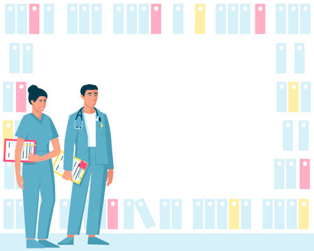 Medical frame with a woman and a man doctors. File racks form a frame. Male doctor with stethoscope and female doctor with folders ready to examine patients. Flat vector illustration.