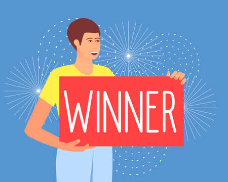A man holds a poster with the inscription Winner. Lucky person. Fireworks in honor of winning the lottery. Flat vector illustration. Ilustração