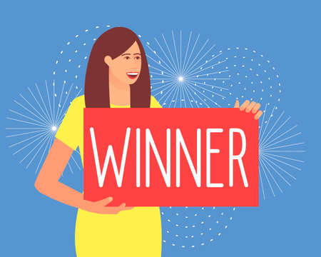 A woman holds a poster with the inscription Winner. Lucky person. Fireworks in honor of winning the lottery. Flat vector illustration.