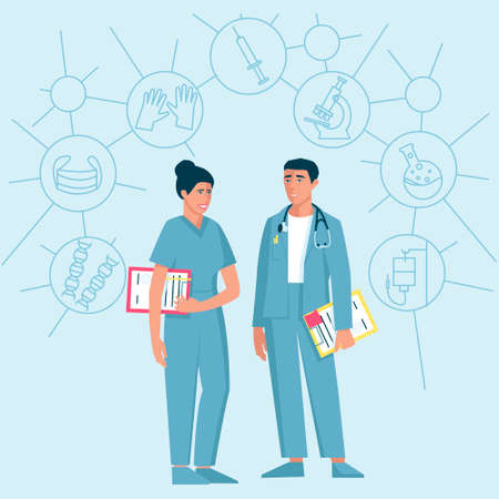 Two doctors a man and a woman with a folder in his hands and a stethoscope on his shoulders. Ilustração