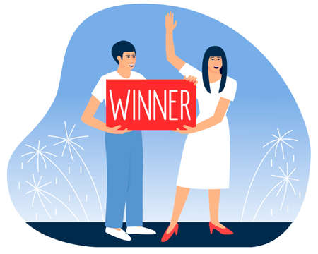 A man and woman holds a poster with the inscription Winner. Lucky people. Fireworks in honor of winning the lottery. Flat vector illustration. Ilustração
