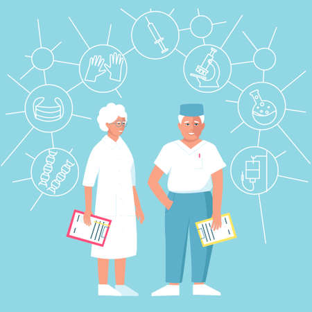Two doctors aged a man and a woman with a folder in his hands. The accessories are necessary for the doctor gloves, mask, microscope, syringe, dropper. Flat vector illustration