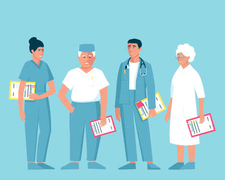 Doctors of different ages and genders. Female and male doctors hold folders to record the patient's illness. The male doctor has a stethoscope on his shoulders. Flat vector illustration.