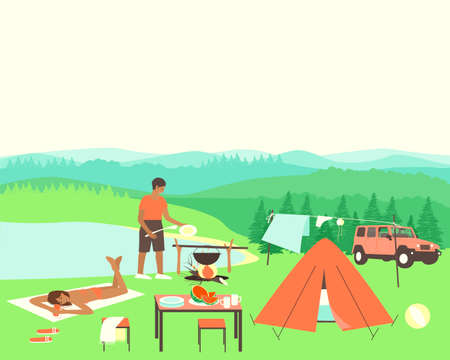 Young couple are resting in nature near the lake and beautiful nature. The man is preparing dinner. A woman is sunbathing near the lake. The newlyweds came by car to nature. Flat vector illustration.