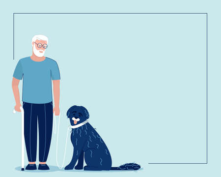 Frame with an old man and a guide dog. Portuguese aquatic dog with his master. Happy pet and dog handler. Flat vector illustration.