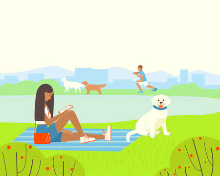 Illustration of a park or playground with a pond for walking dogs. Girl with dog Labrador Retriever is resting in the park. The dog handler deals with dogs. Flat vector illustration.