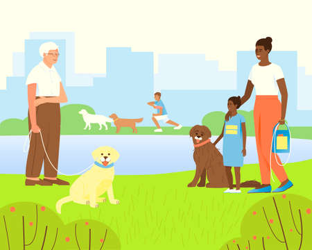 Portuguese aquatic dog with African American mom and daughter. Old man and a guide dog. Illustration of a park or playground with a pond for walking dogs. Flat vector illustration. Ilustração