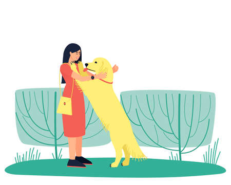 Dog handler hugs his golden Labrador dog. The woman is walking the dog. A strong friendship between a man and a dog. Flat vector illustration.