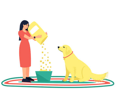Dog handler pouring food to his beloved dog. The woman takes care of her pet. A strong friendship between a man and a dog. Flat vector illustration.
