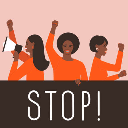 African American Females take part in the strike. Protest fist. Announcement in a megaphone. Banner with place for text. Student protest. Vector illustration flat.