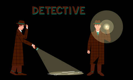 Detective with a flashlight in two different poses. Detective with flashlight on dark background. Search for evidence in the dark. Murder investigation concept. Black background. Flat vector illustration. Ilustração