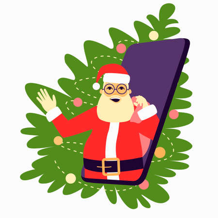 Cheerful Santa Claus with a bag and glasses looks out of the phone. Phone with Santa Claus on the background of the fir tree. Concept of New Year's gifts online. Flat vector illustration.