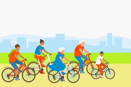 Mom, son, dad and grandparents are actively spending summer vacations. Family rides bicycles in a park outside the city. Happy family sport activity. Flat vector cartoon illustration. Ilustração