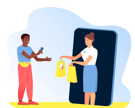 The Afro American man makes purchases from the seller in the online store. Man pays with a card for the purchase. Seller hands paper bags to buyer. Vector flat illustration.