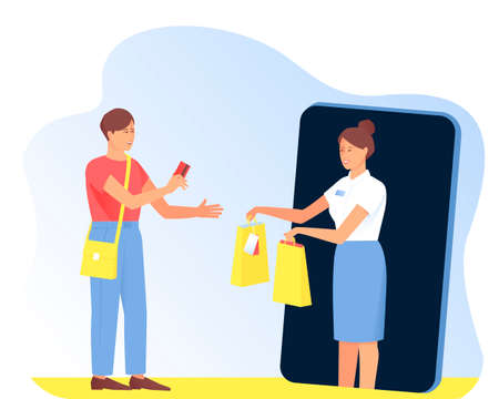 The seller gives the purchases to the buyer from the phone. Online shopping concept. The customer pays for their purchases by card. Flat vector illustration.